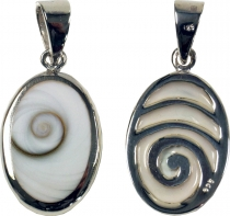 Boho silver pendant with shiva shell - life spiral
