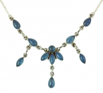 Silver necklace with semi-precious stones - Calcedon