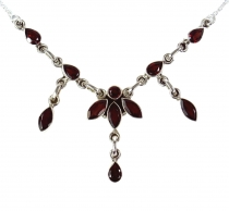 Silver necklace with semi-precious stones - garnet