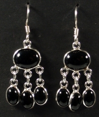 Indian silver earrings in Bollywood style, Boho earrings - Onyx