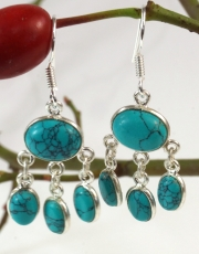 Bollywood Style Indian Silver Earrings, Boho Earrings - Turquoise