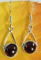 Indian silver earrings, ethnic earrings, boho earrings - Garnet