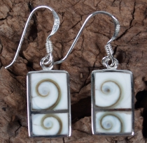 Silver earrings with shiva shell - 6