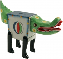 Crazy wooden money box, hand painted - crocodile
