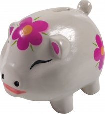 Crazy wooden piggy bank, painted by hand - lucky pig