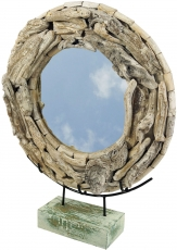 Round driftwood mirror, decoration mirror with pieces of driftwoo..