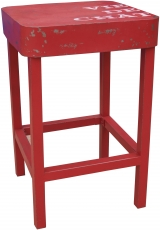 Standing table, side table in lacquered metal - red