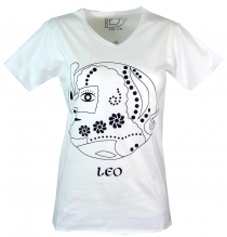 star sign T-Shirt `Leo` - white