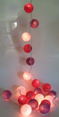 Fabric Ball Light Chain LED Ball Lampion Light Chain - bordeaux/w..