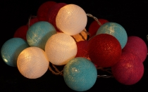 Fabric ball light chain, LED ball lantern light chain - turquoise..