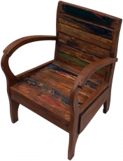Chair, armchair in recycled teak with curved armrests - Model 3