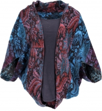 Cocoon cardigan, open jacket in oversize form - turquoise