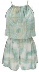 Short airy batik overall in hippie style - mint