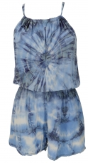 Short airy batik overall in hippie style - blue