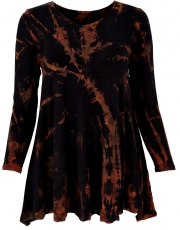 Batik mini dress, long sleeve boho tunic, batik dress - black