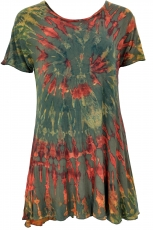 Batik mini dress, batik dress, boho tunic - olive