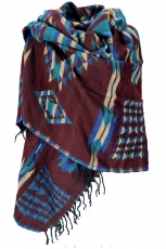 Soft Pashmina scarf/stole, shawl - Maya pattern reddish brown/tur..
