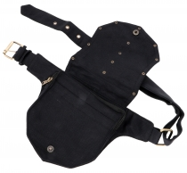 Festival Sidebag with rivets, Goa fanny pack - black
