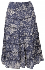tiered skirt, comfortable boho summer skirt - navy