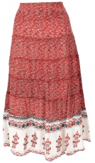 tiered skirt, comfortable boho summer skirt - raspberry red