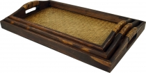 Tray wood/rattan, breakfast tray serving tray with wooden frame r..