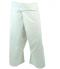 Thai cotton fisherman pants, wrap pants, yoga pants - M/L white