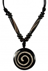 Ethno amulet, Tibet necklace, Tibet jewellery - Spiral black/whit..