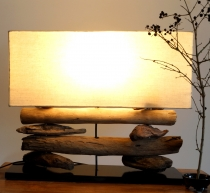 Table lamp/table lamp Malacoota, handmade in Bali, driftwood, cot..