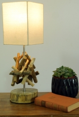 Table lamp/table lamp Bilbao, driftwood, cotton, handmade in Bali..