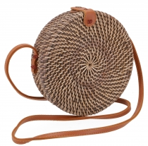 Woven handbag, basket bag, rattan bag, Bali bag round - Model 1