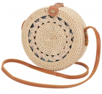 Woven handbag, basket bag, rattantasche, bali bag round - model 3