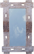 Flotsam mirror, decoration mirror with pieces of driftwood in fra..