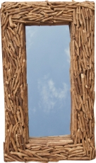 driftwood mirror, decoration mirror with pieces of driftwood in f..
