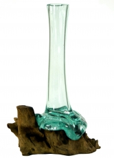 Vase made of recycled glass, glass vase burl wood - M10