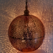 Copper plated ambient ceiling lamp in marrocan design, oriental c..