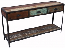 Vintage sideboard with 3 drawers, in metal and recycled wood - mo..