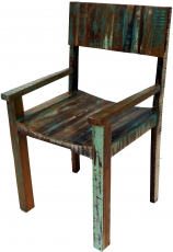 Vintage chair with recycled wood armrests - Model 16