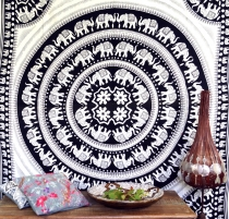 Wall hanging, wall cloth, bedspread with elephants Mandala - Desi..