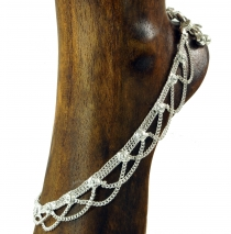 Indian anklet, oriental white metal anklet - Model 14
