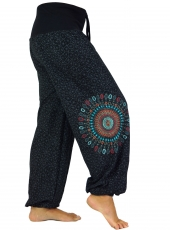 Wide pluderhose with wide waistband and mandala embroidery - blac..