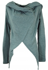 Wrap-around cardigan with wide shawl hood - dove blue