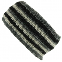 Wool-knit browband from Nepal with stripe pattern - grey