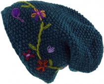 Wool beanie with flower embroidery, Nepal cap - petrol