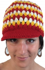 Wool cap with peak - red/yellow