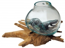 Burl wood vase - 1 * Ø glass up to 10 cm