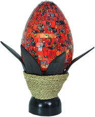 Table Lamp/Table Lamp, handmade in Bali, palm wood, glass mosaic ..
