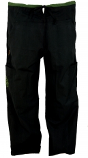 Yoga pants, Goa pants with embroidery - black
