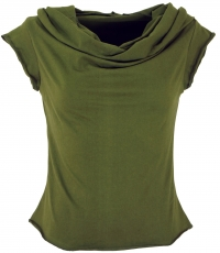 Yogatop, Psytrance Festival Top with shawl hood - olive