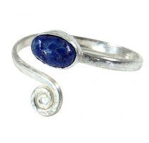 Brass toe ring, silver plated goat jewellery with lapis lazulite ..