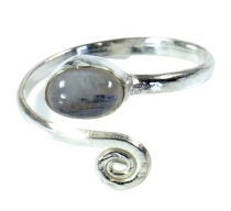 Brass toe ring, silver-plated goat jewellery with moonstone - Des..